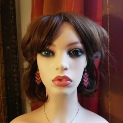 Bijoux fantaisies fait main | boucles d'oreilles rose fuschia | Boucles d'oreilles en perles hama | Bijoux fantaisies lyon